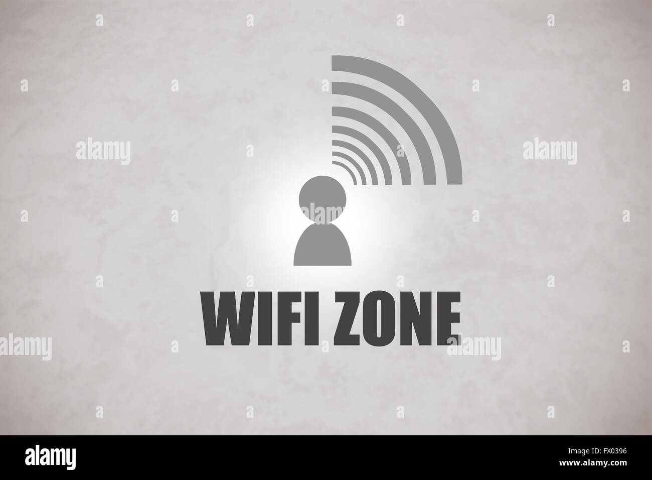 Zone WIFI logo dans un fond gris Photo Stock