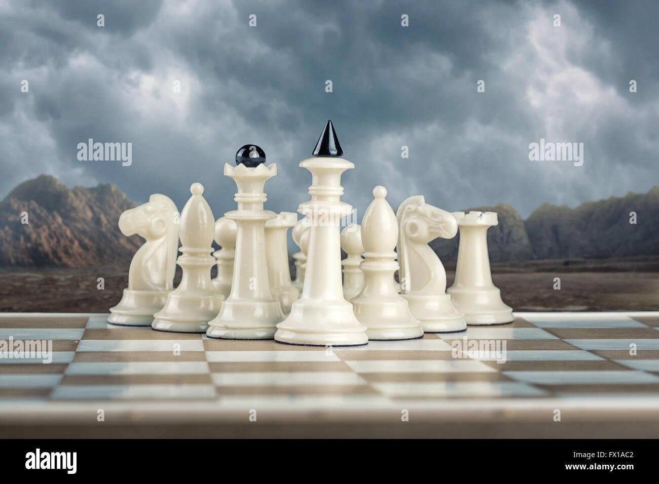 L'équipe d'échecs blanc Banque D'Images