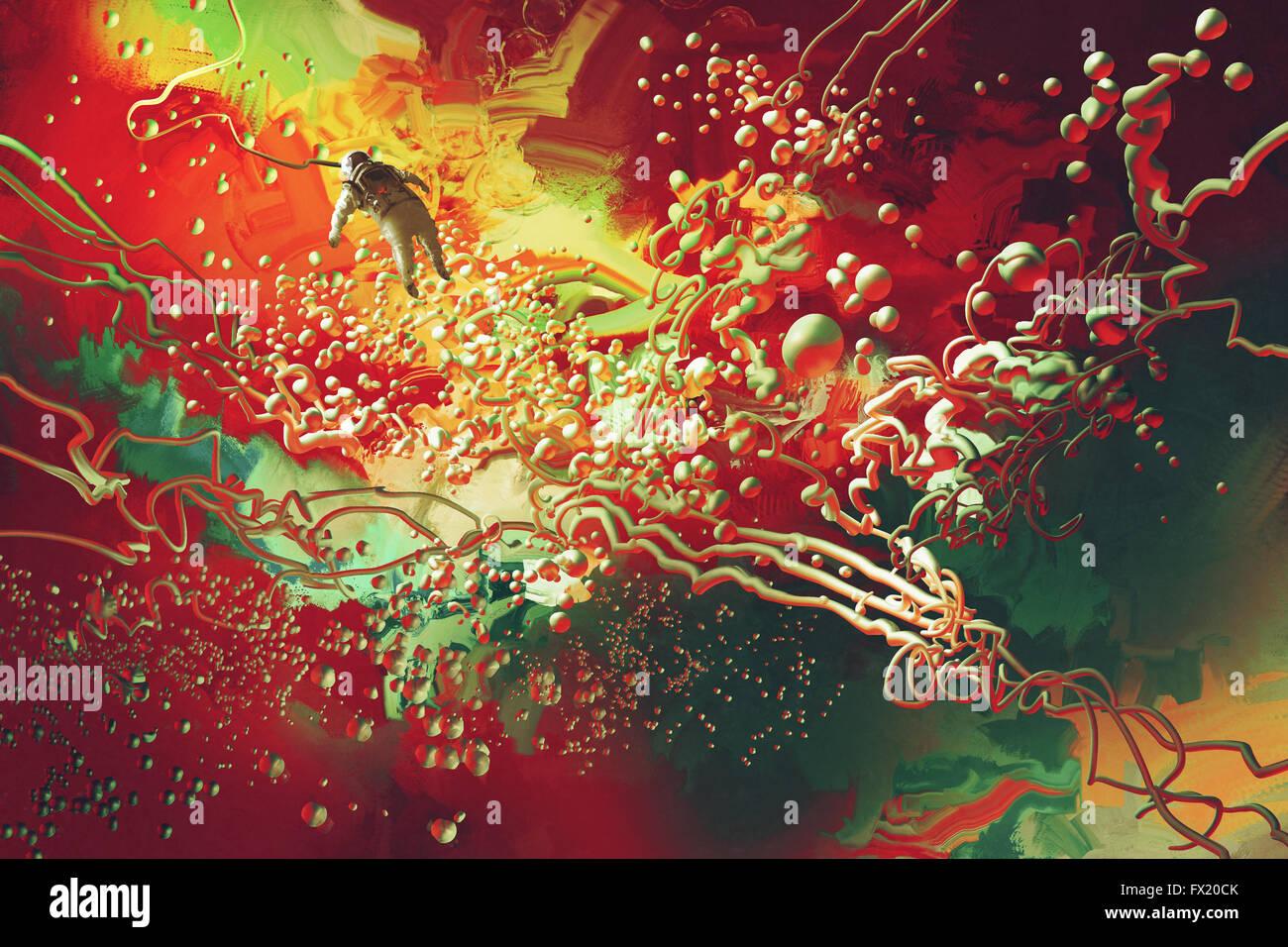 L'astronaute flottant dans l'espace abstrait,illustration peinture Photo Stock