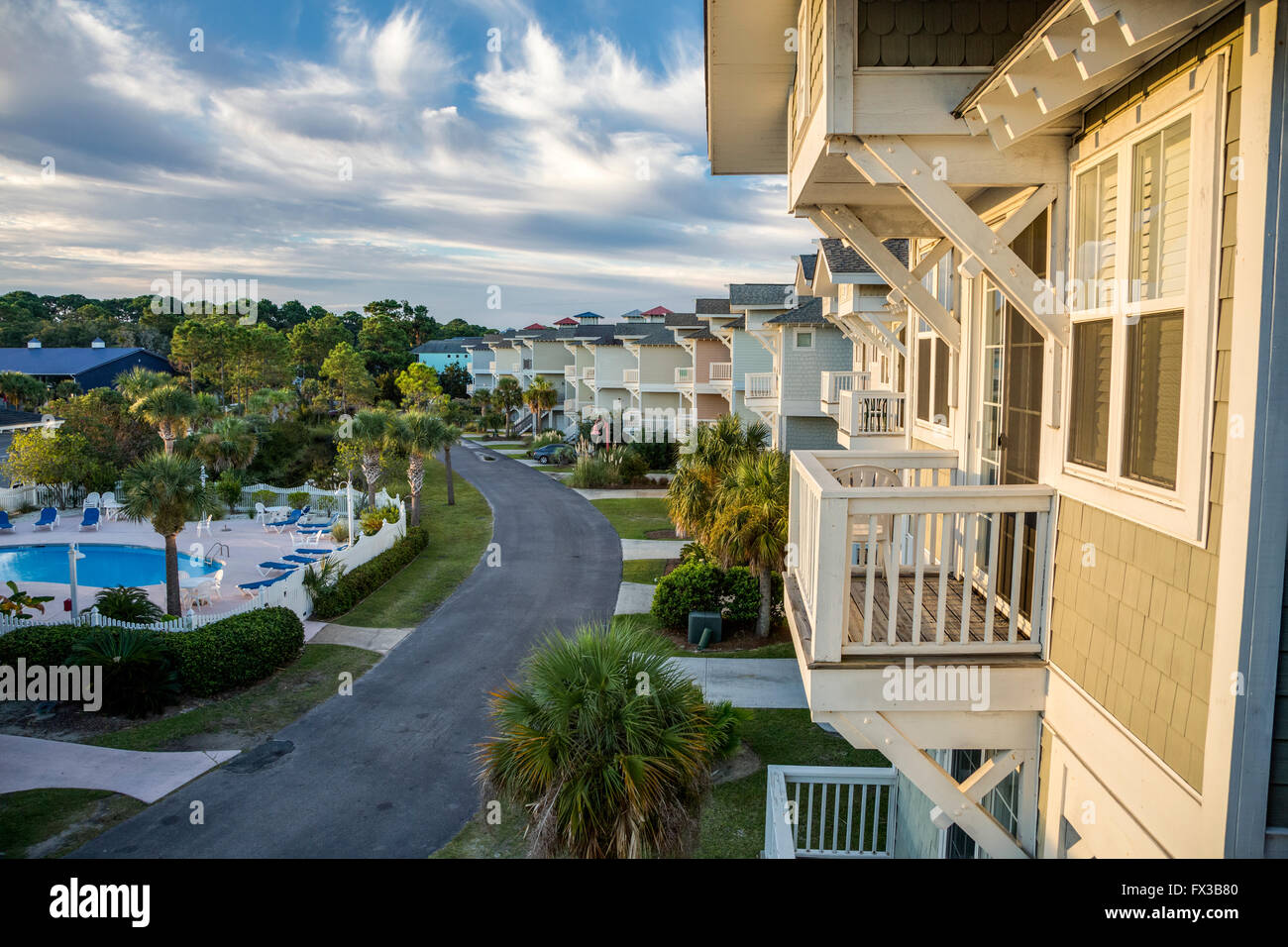 Fripp Island, Caroline du Sud, USA. Maisons de vacances. Photo Stock