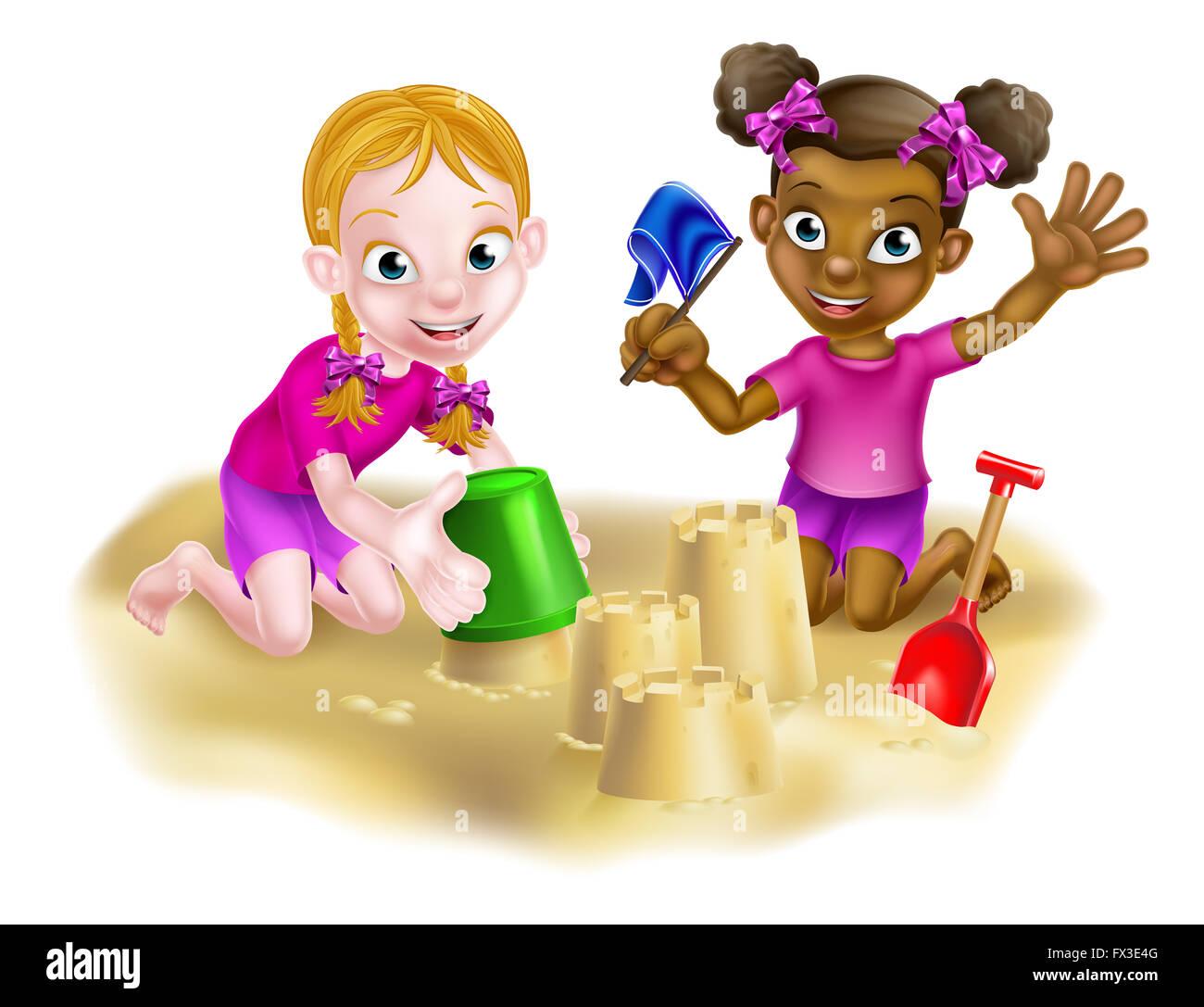 Petite Fille Dessin Animé Enfants L Un Blanc L Autre Noir