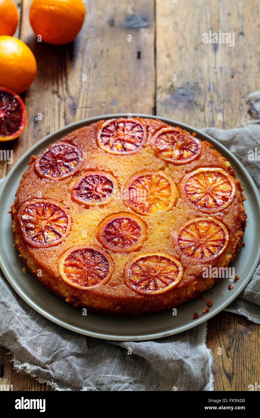 Gâteau orange sanguine Photo Stock