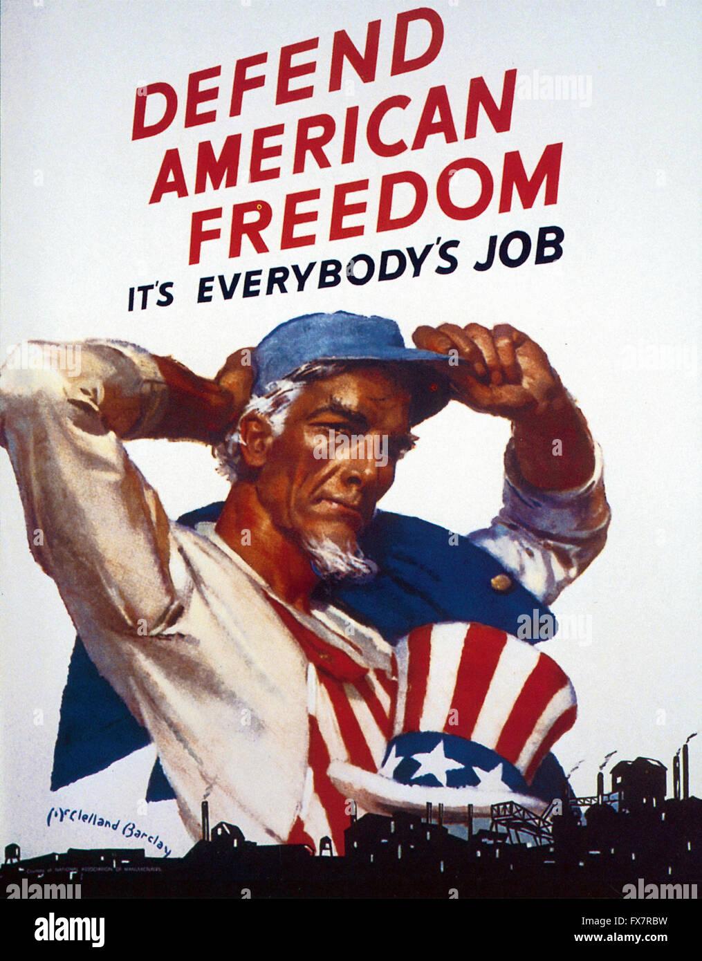 Défendre la liberté de l'Amérique - l'Oncle Sam - La Seconde Guerre mondiale affiche de propagande Photo Stock