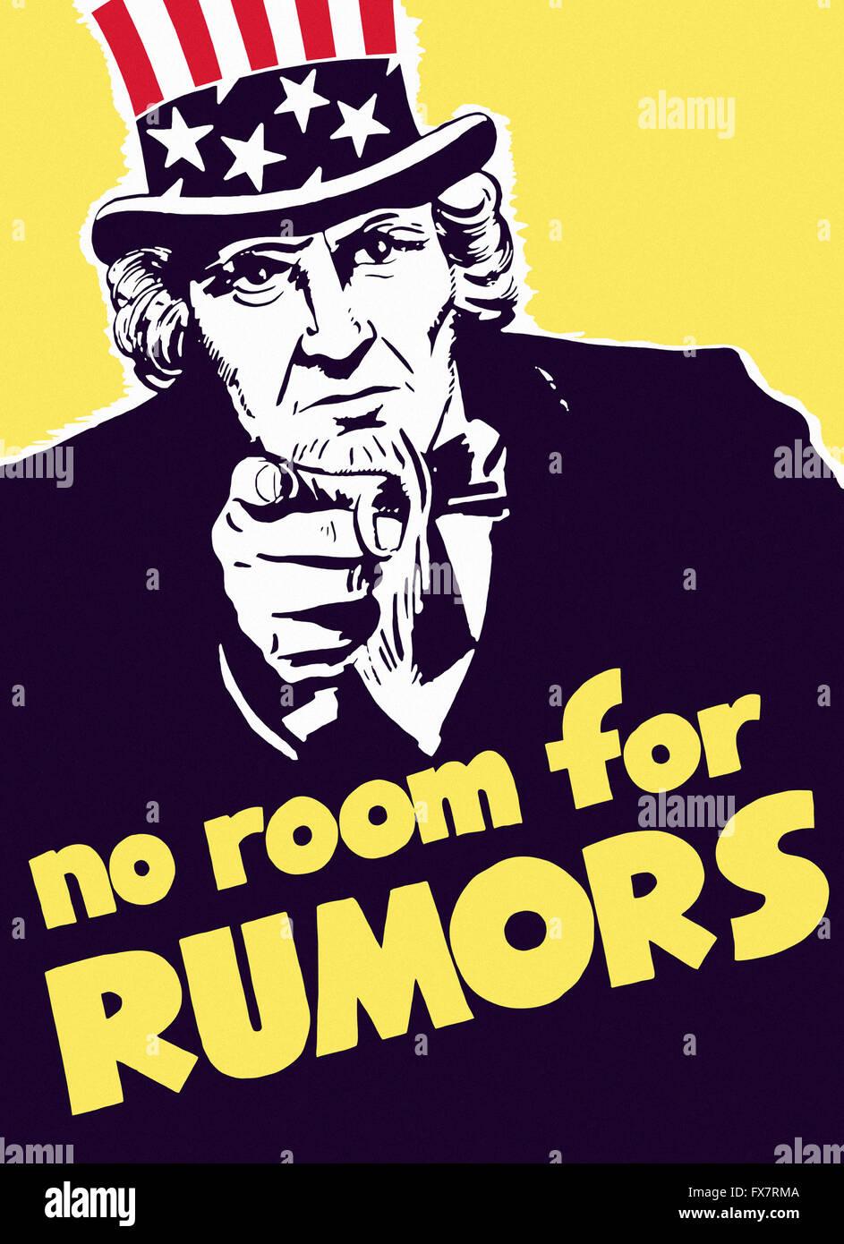 L'Oncle Sam - Pas de place pour des rumeurs - La Seconde Guerre mondiale affiche de propagande - U.S Photo Stock