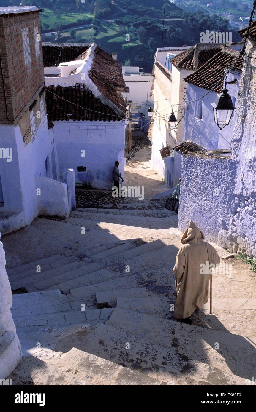 Le Maroc, Chefchaouen, ville bleue, Rif Banque D'Images