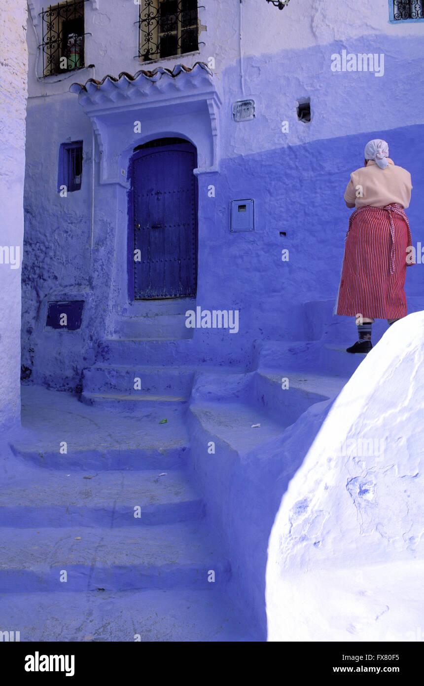 Le Maroc, Chefchaouen, ville bleue, RIF, les femmes Banque D'Images