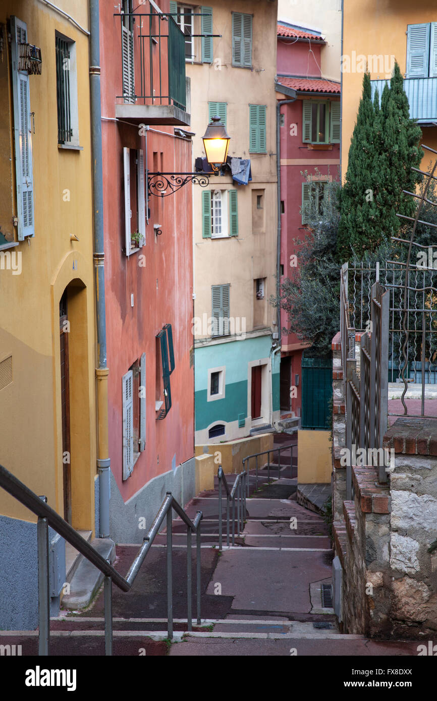 Le Vieux Nice se montrant maisons colorées de la vieille ville, Nice, France Photo Stock