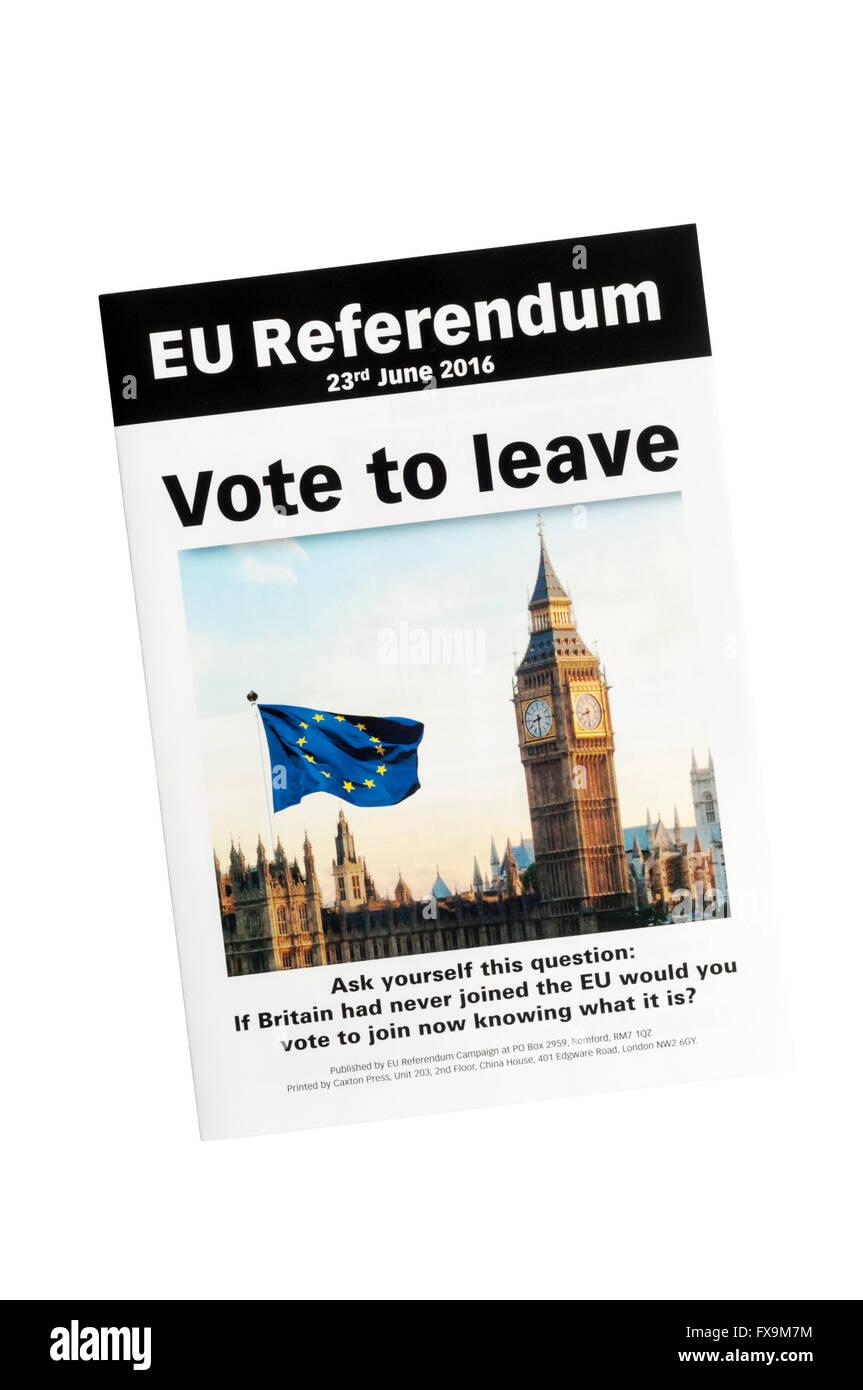 Un anti-UE Notice avant de l'UE Européenne 2016 référendum. Photo Stock