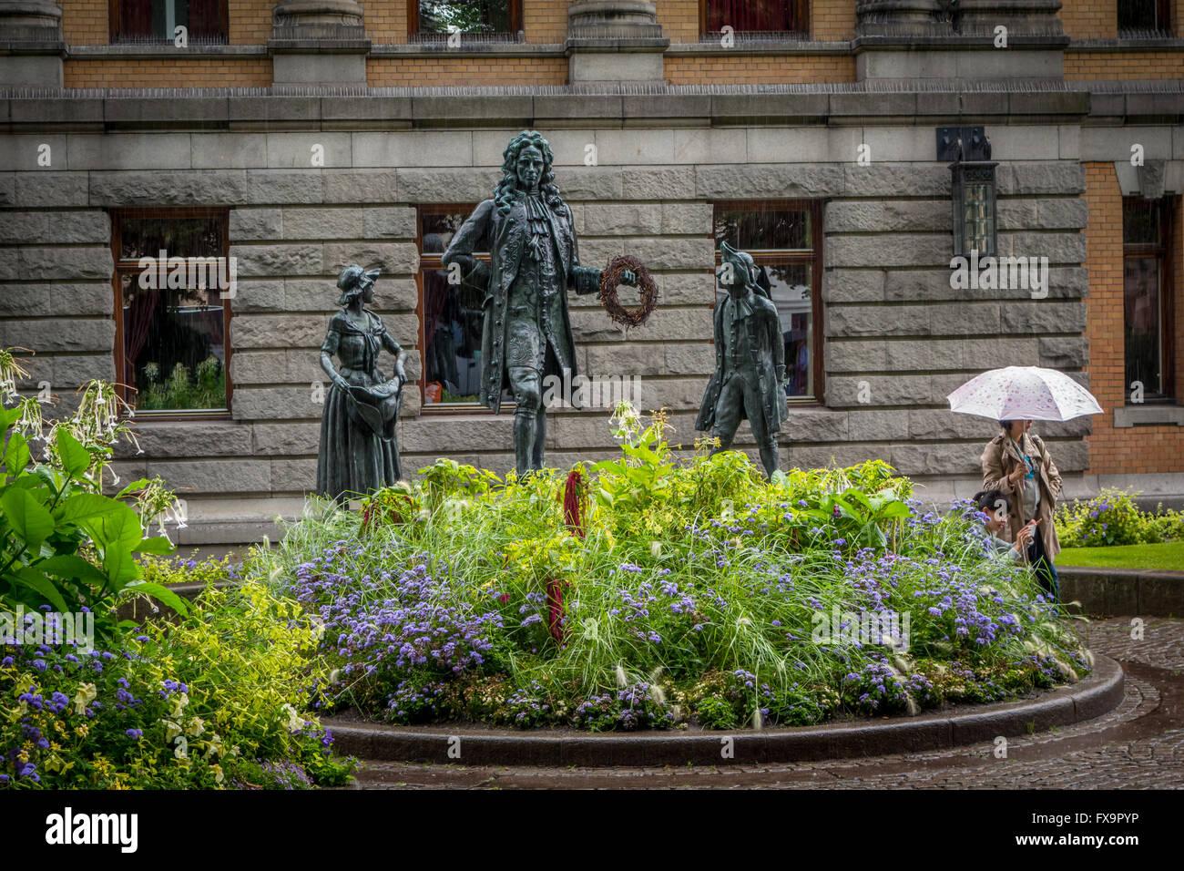 Le monument de l'Norwegian-Danish auteur Ludwig Holberg Photo Stock