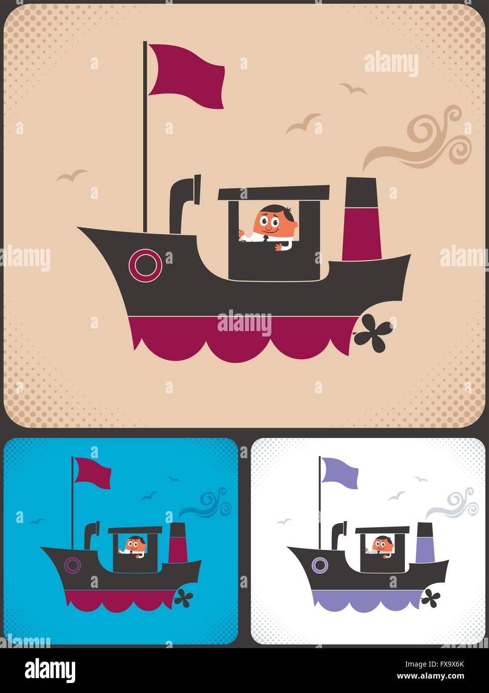 Navire Dessin Animé Et De Son Capitaine Vecteurs Et Illustration