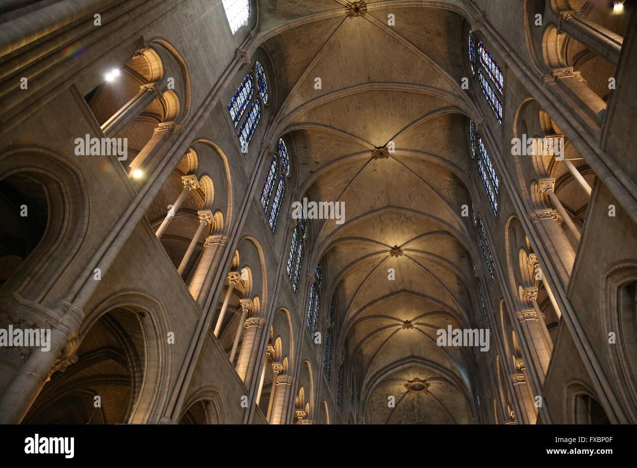 La France. Paris. Cathédrale de Notre Dame. À l'intérieur. Photo Stock