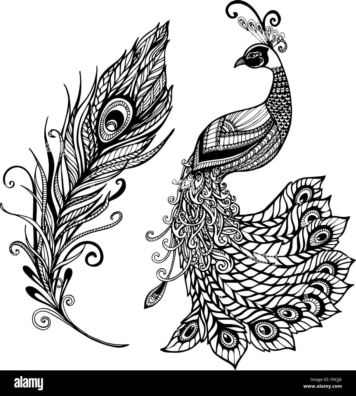 Conception De Plume De Paon Doodle Noir Imprimer Image Vectorielle Stock Alamy