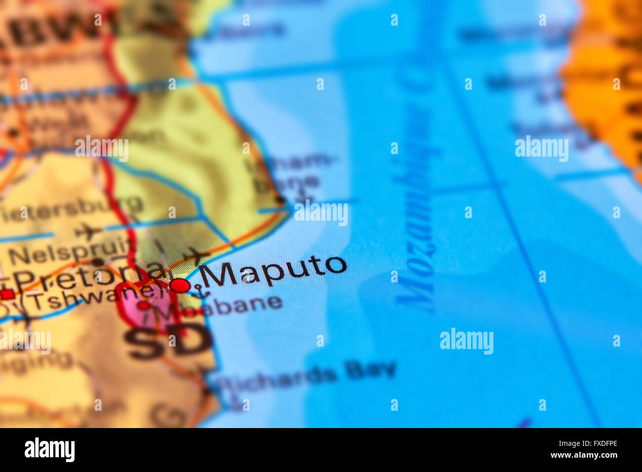 Maputo, capitale du Mozambique sur la carte du monde Photo Stock