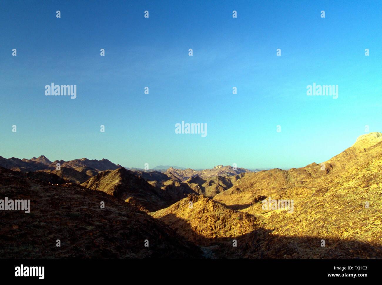 Paysage désertique près de Bishah, Royaume d'Arabie Saoudite Photo Stock