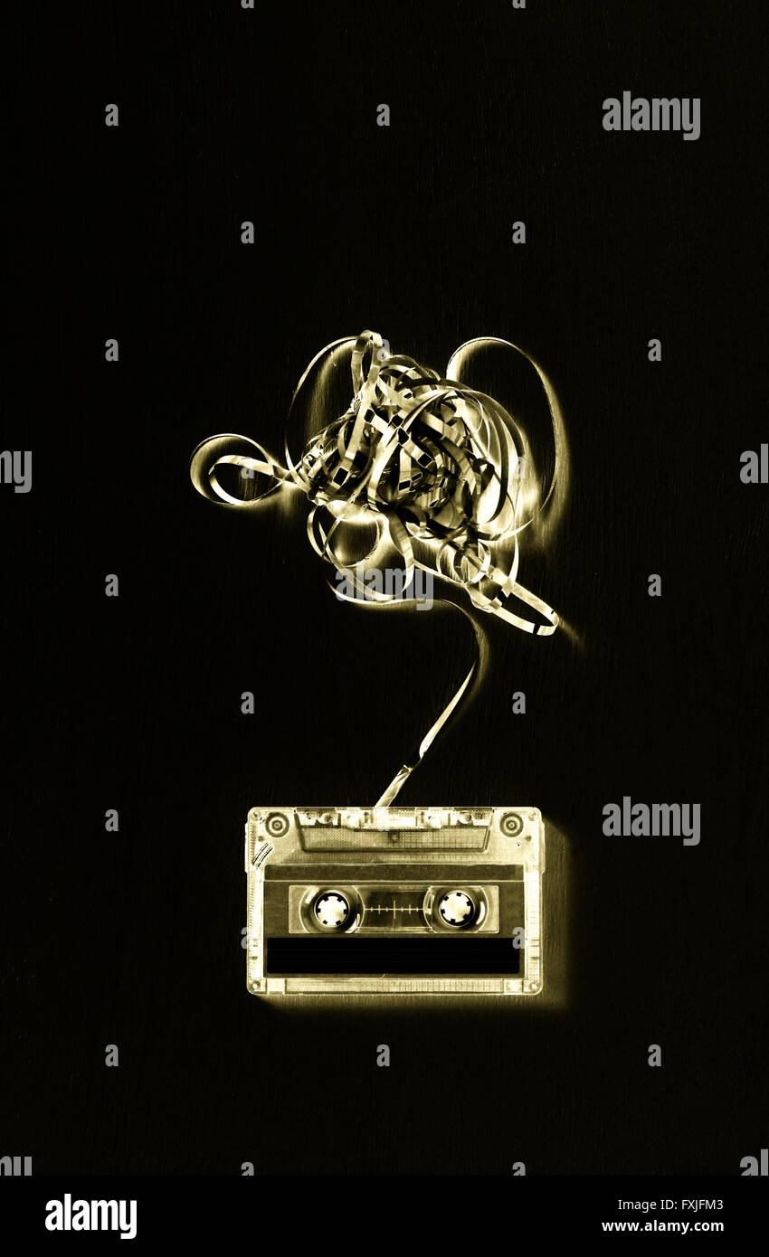 Cassette audio avec soustrait bande. solrisation vigueur Photo Stock