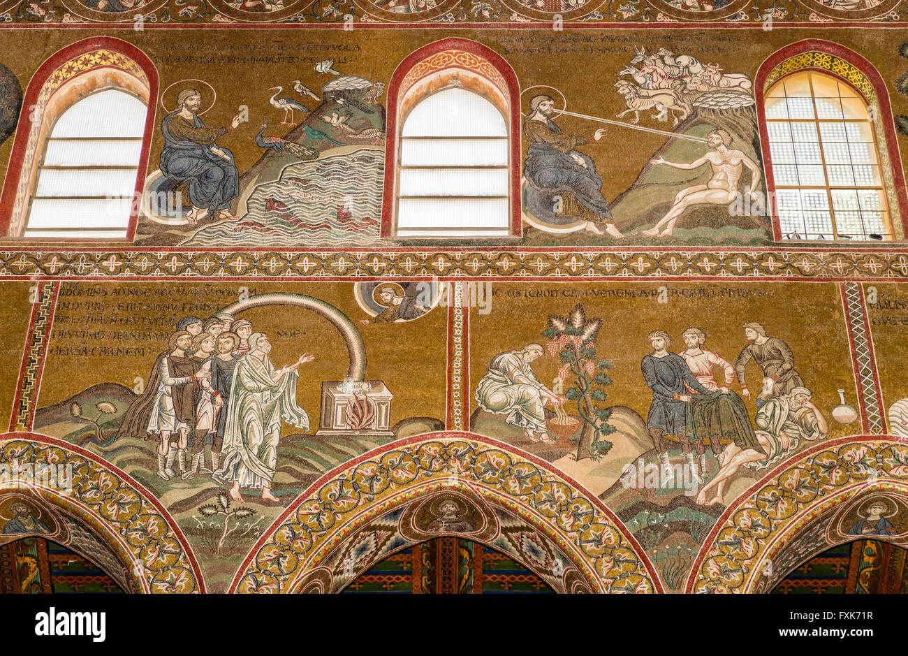 Des mosaïques byzantines, Dieu crée la vie, les animaux et les humains, au-dessous de l'Alliance de Photo Stock