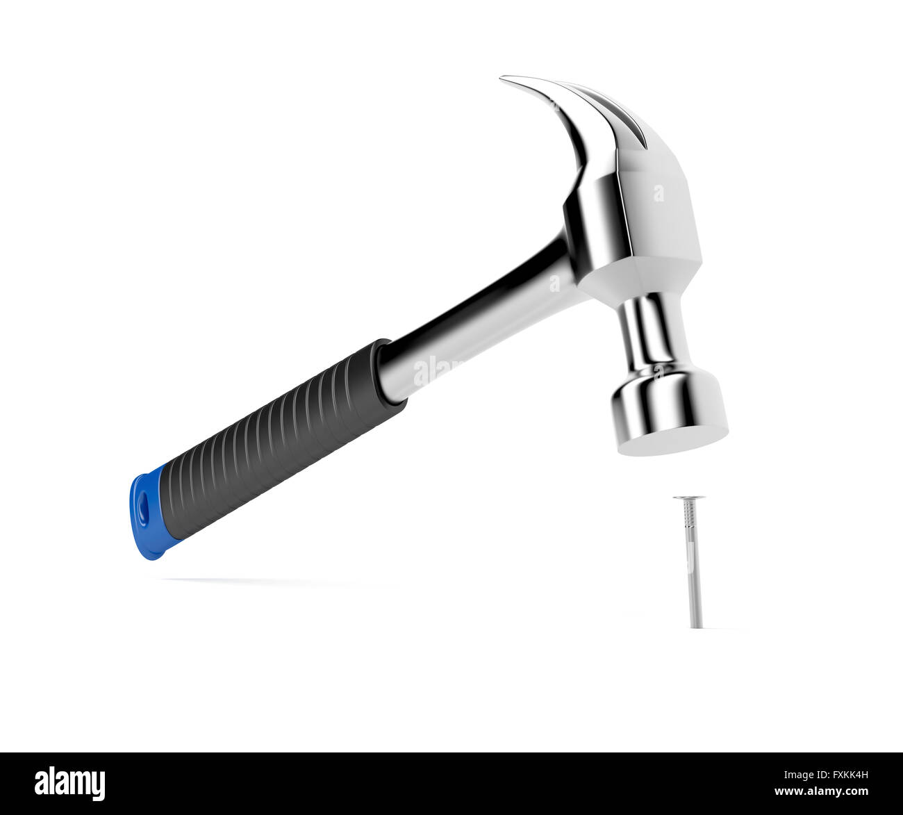 Hammer hitting un clou sur fond blanc Photo Stock