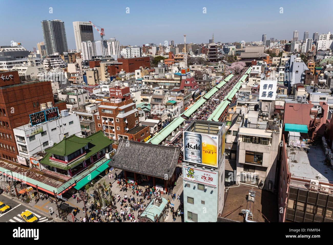 Vue sur la ville d'Asakusa, Tokyo, Japon Photo Stock