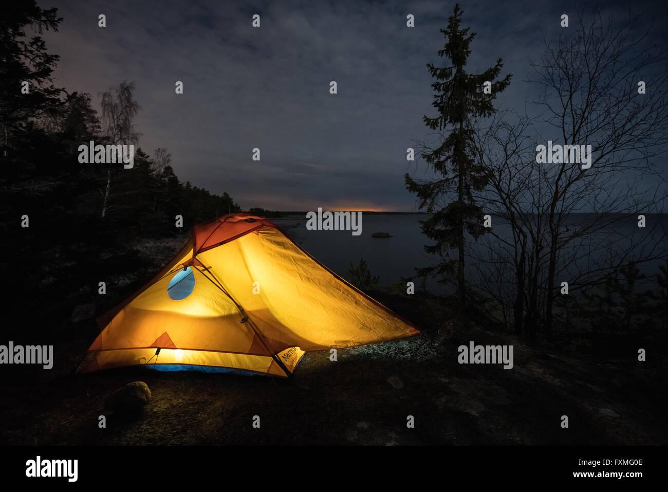 Le camping sur l'Emäsalo, Porvoo, Finlande, Europe, UNION EUROPÉENNE Photo Stock