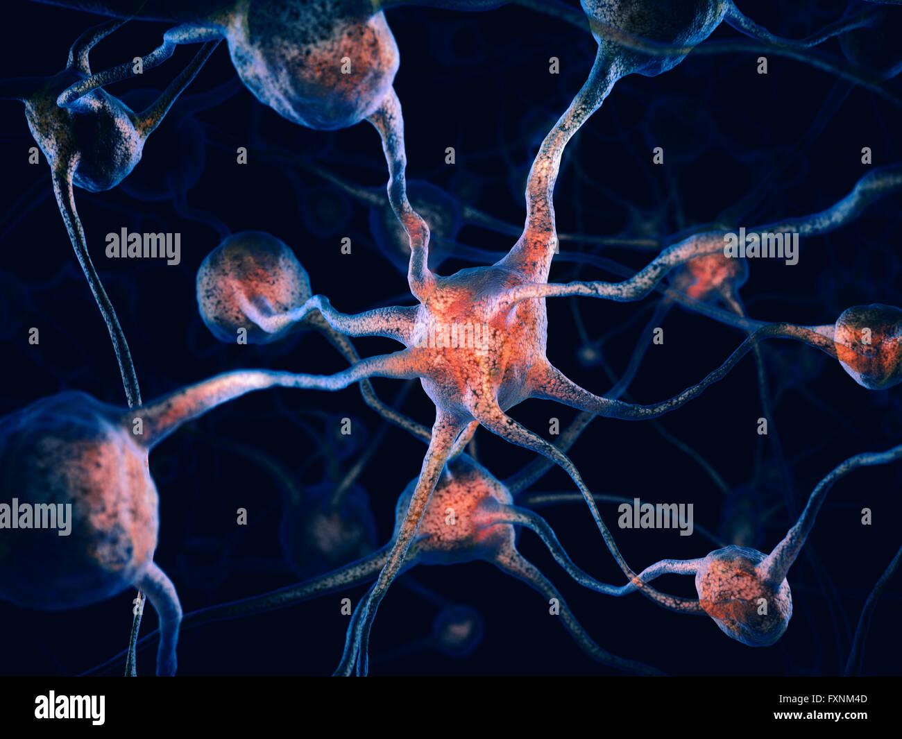 3D illustration conceptuelle de braincells, réseau de neurones, système nerveux Photo Stock