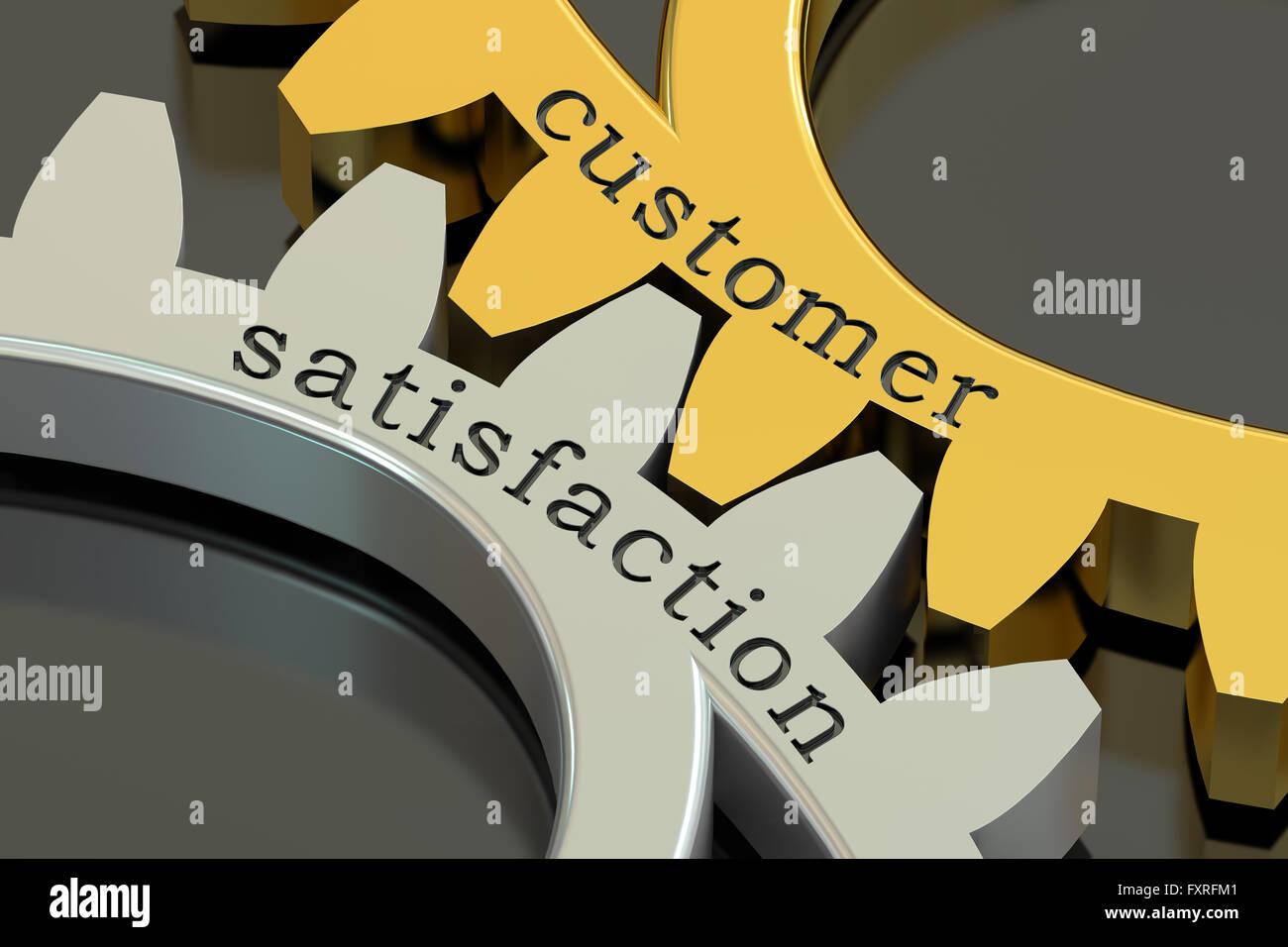 Concept de la satisfaction client sur les roues dentées, rendu 3D Photo Stock