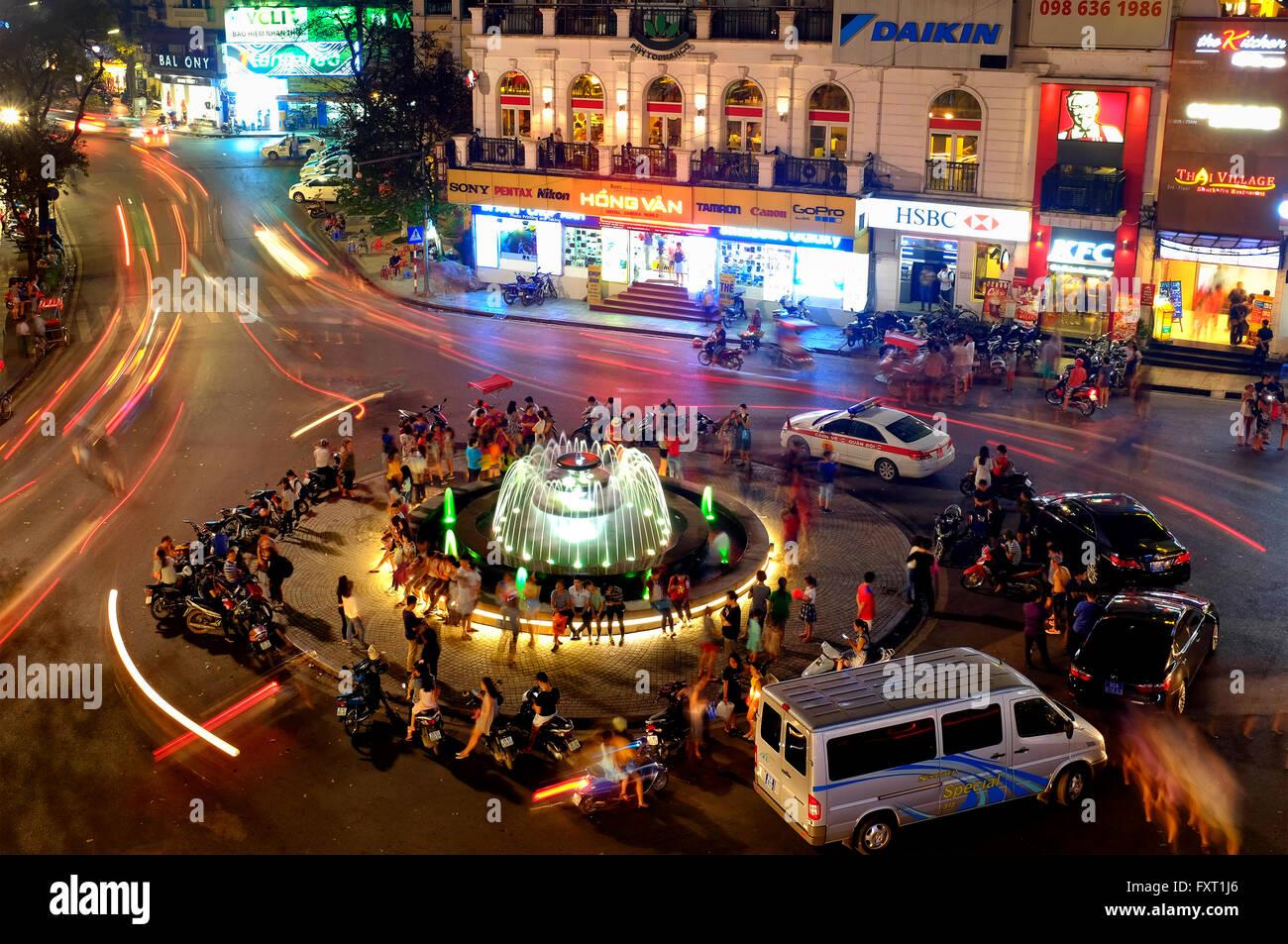 Fontaine à Ham Ca Carte Carrefour à Hanoi, Vietnam Photo Stock