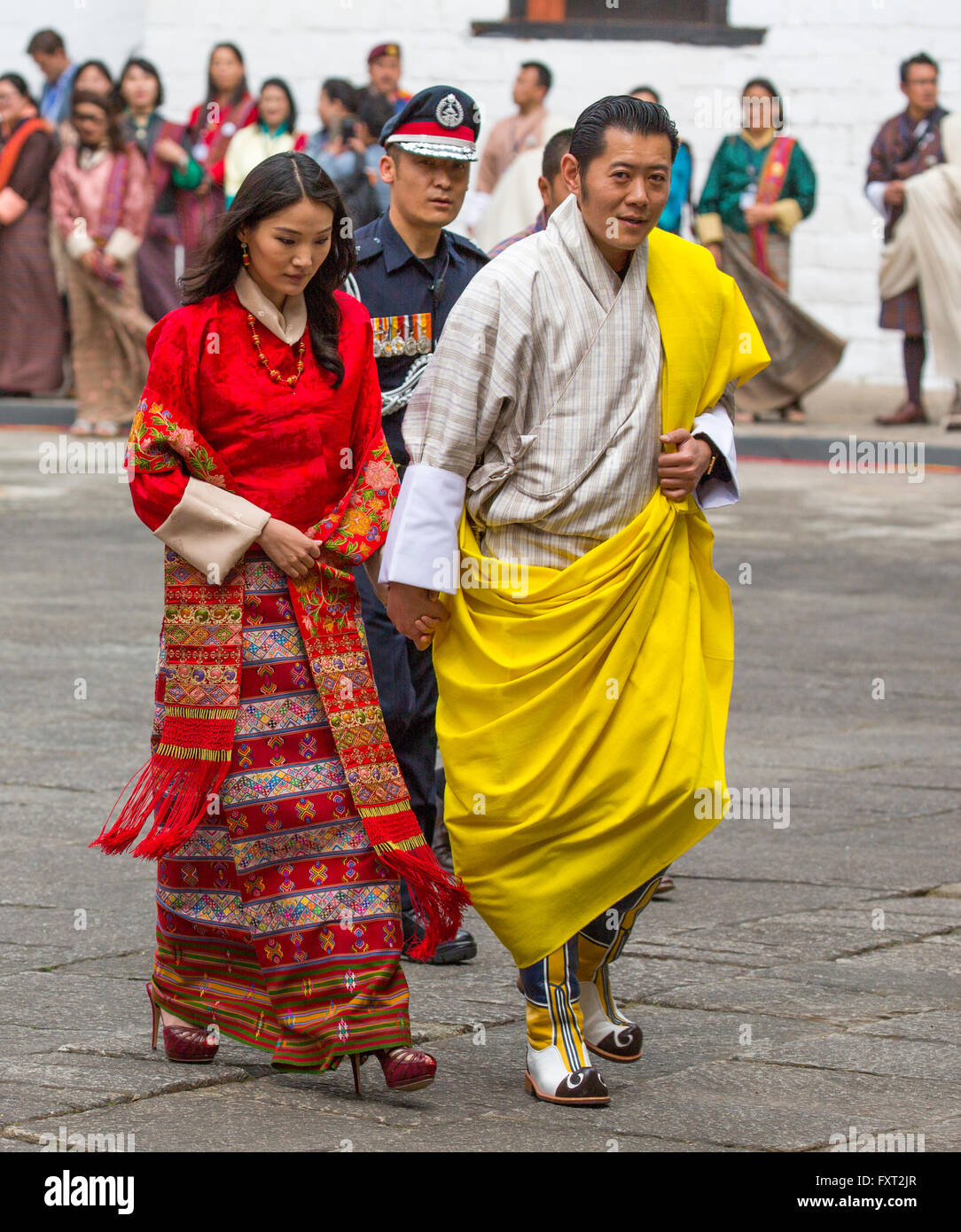 Le roi Jigme Khesar Namgyel Wangchuck et Reine Jetsun Pem du Bhoutan Photo Stock