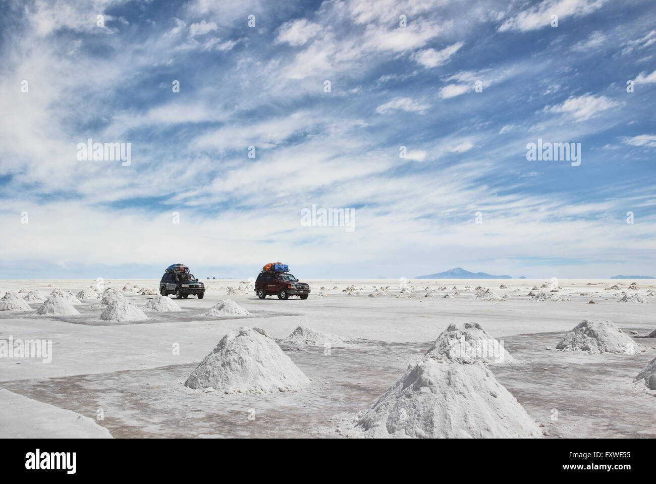 Bolivie - 22/08/2013 - Bolivie / Salar de Uyuni / Uyuni - désert de sel, Uyuni - Sandrine Huet / Le Pictorium Photo Stock