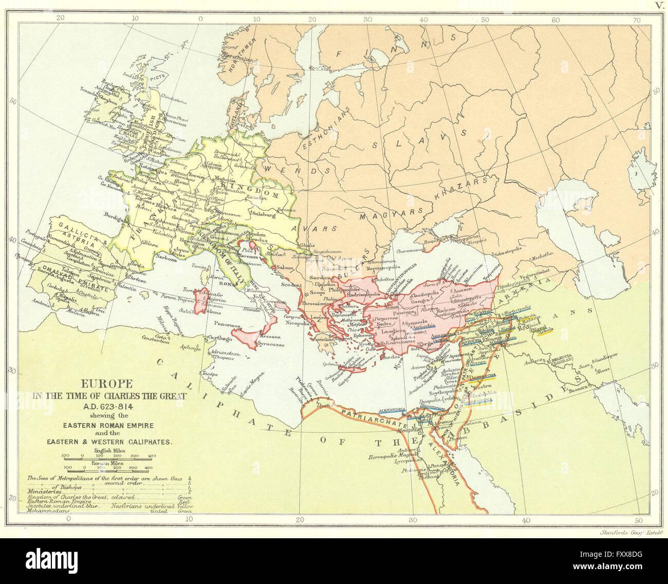 EUROPE 623-814AD: Empire franc. L'Est de l'Empire romain. Califats, 1897 map Photo Stock