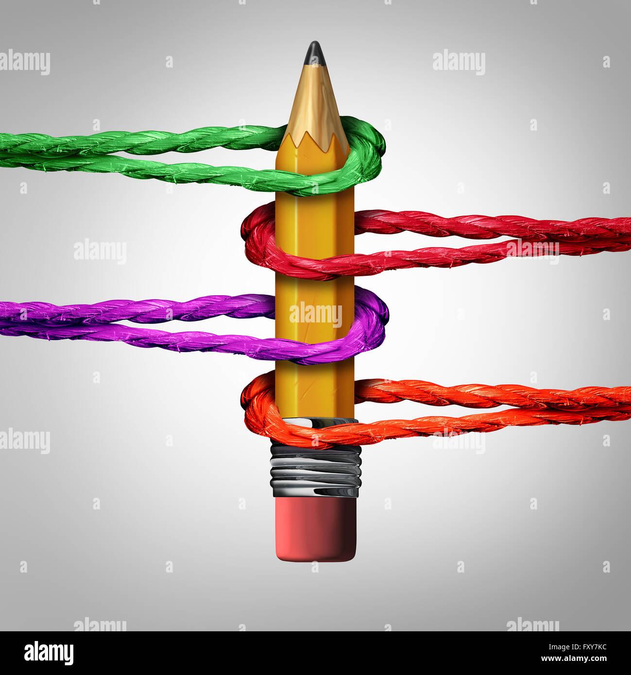 Réseau de soutien créatif comme un concept 3D illustration crayon appuyé par un groupe de cordes Photo Stock