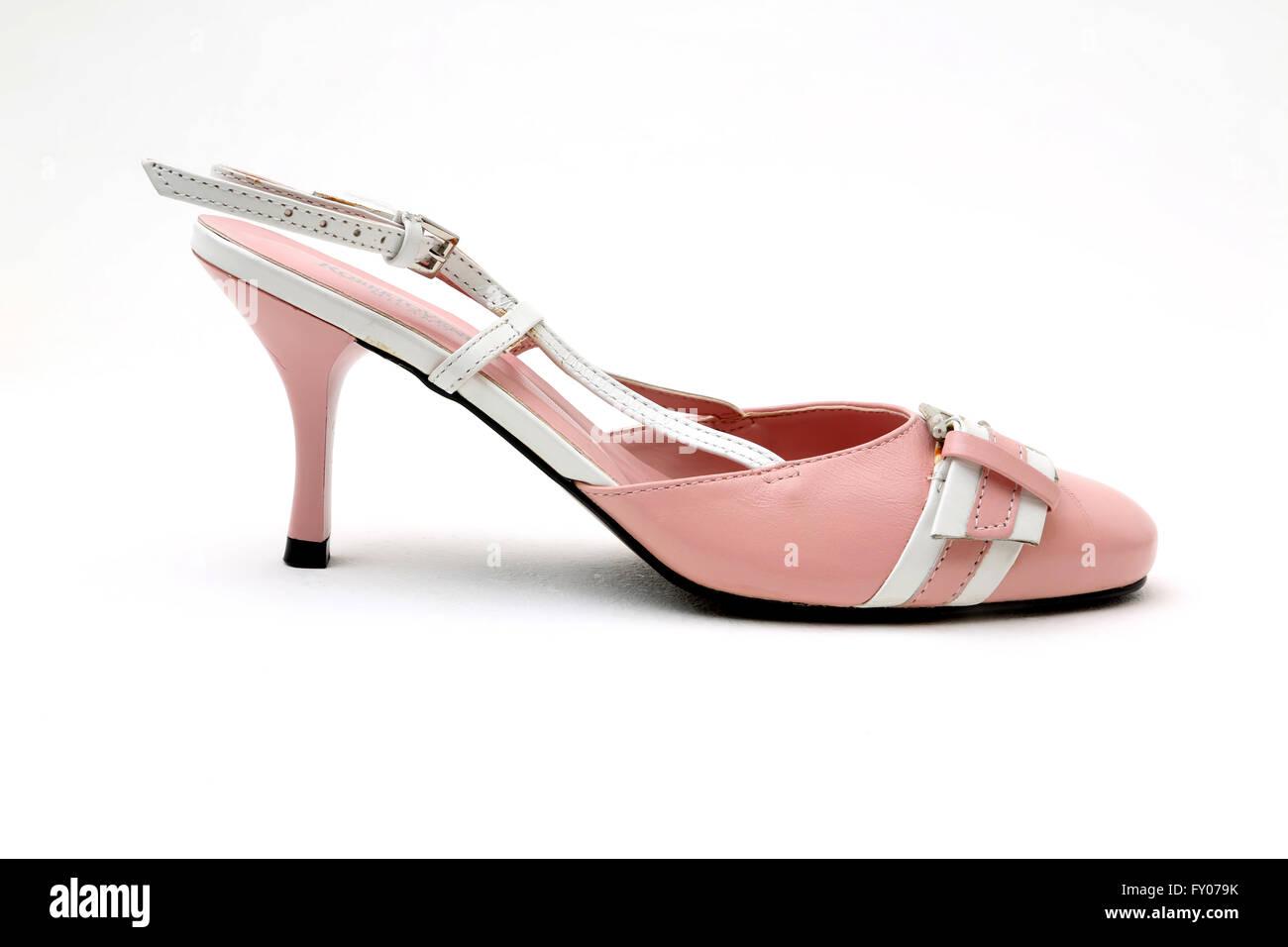 Roberto Venutt rose et blanc en cuir italien de chaussures talon avec boucle Photo Stock