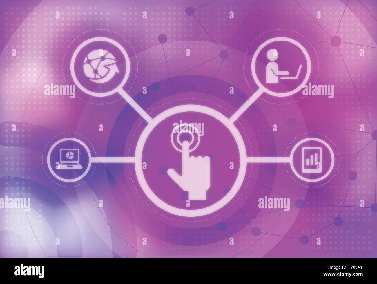 Illustration de la main de l'homme agissant sur écran tactile Banque D'Images