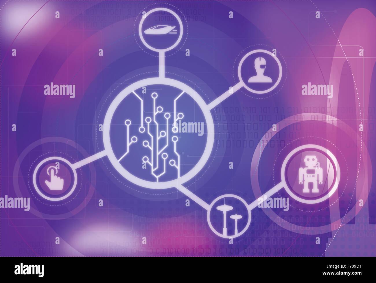 Image d'illustration de la technologie de pointe et futuriste robot intelligent artificiel Banque D'Images
