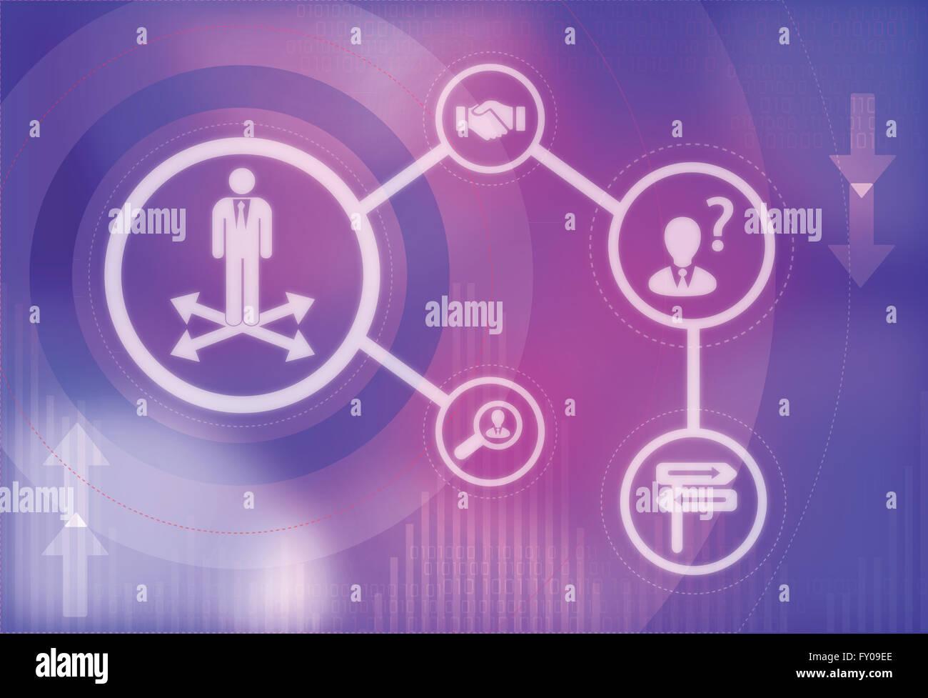 Illustration du concept de chômage vers l'emploi Banque D'Images