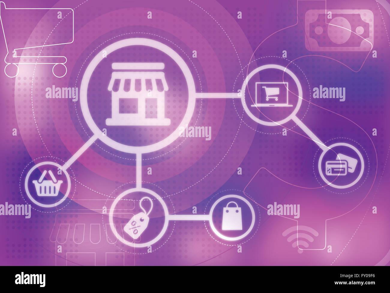 Image d'illustration représentant concept de magasinage en ligne Banque D'Images