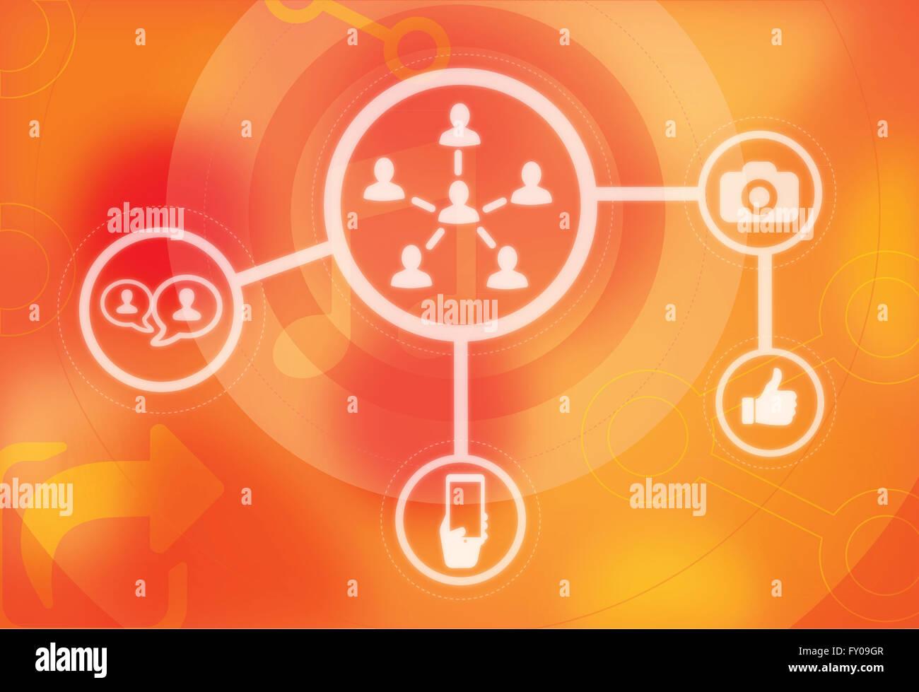 Illustration du concept de réseau social Banque D'Images