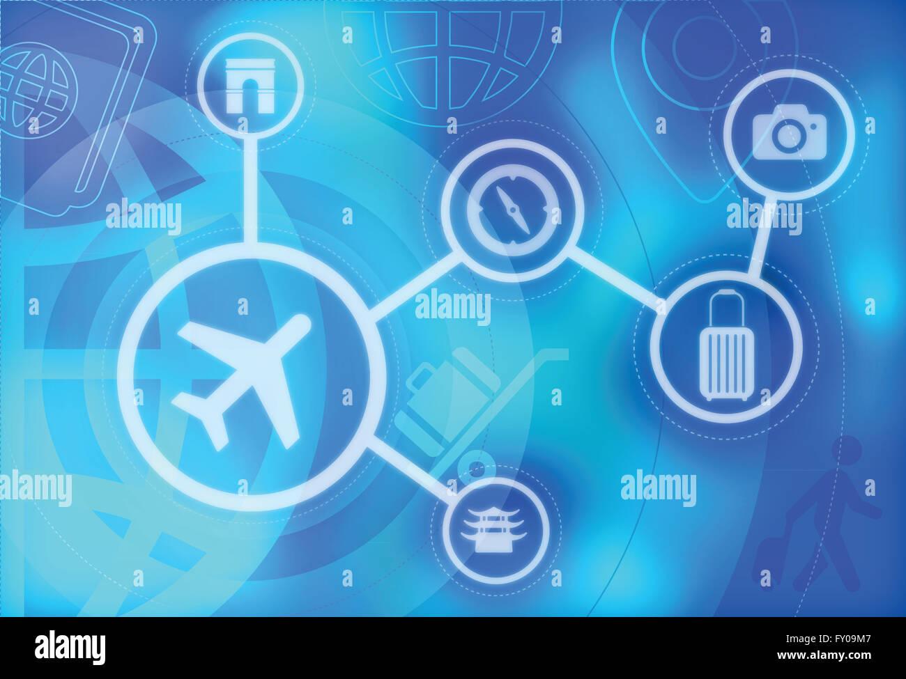 Collage de voyage vacances et voyage représentant Banque D'Images