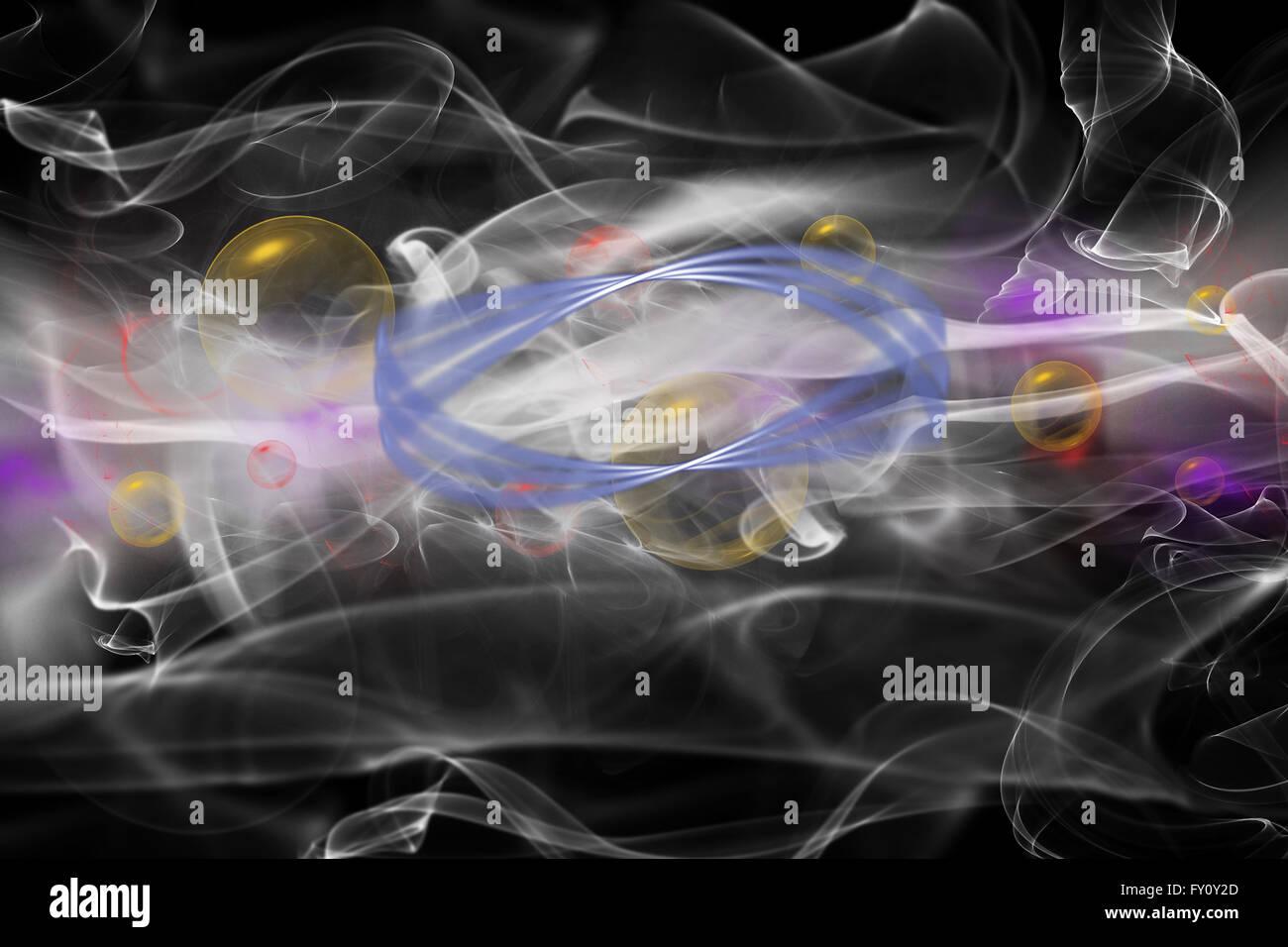 Résumé composé d'une couleur de fumée, de lumières et d'objets sur le fond noir. Photo Stock