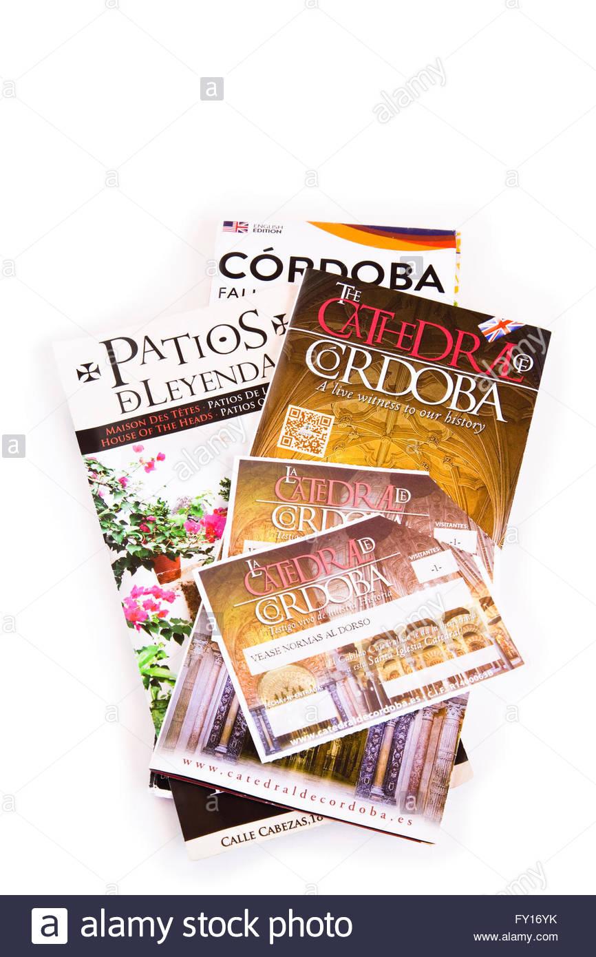Brochures de voyage pour Cordoba et la cathédrale, de l'Espagne. Photo Stock