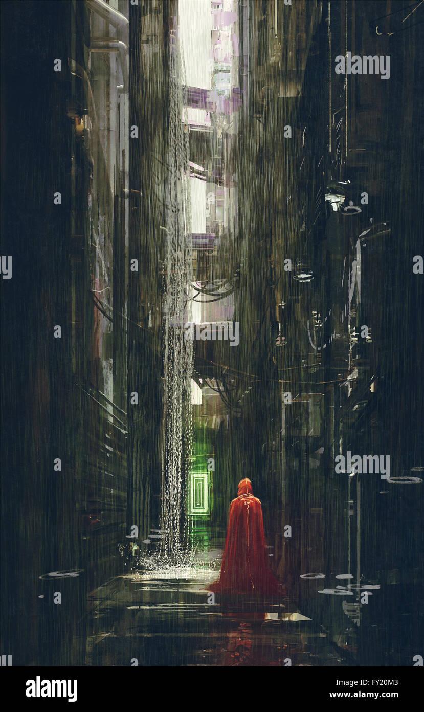 Red Riding Hood dans l'allée de la science-fiction futuriste,scène,illustration Photo Stock