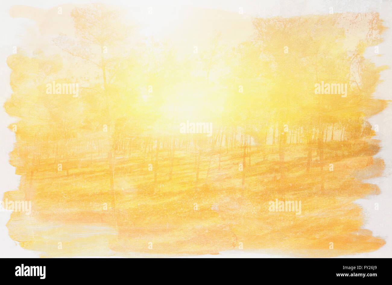 Résumé de l'exposition double image de forêt et la texture aquarelle Photo Stock
