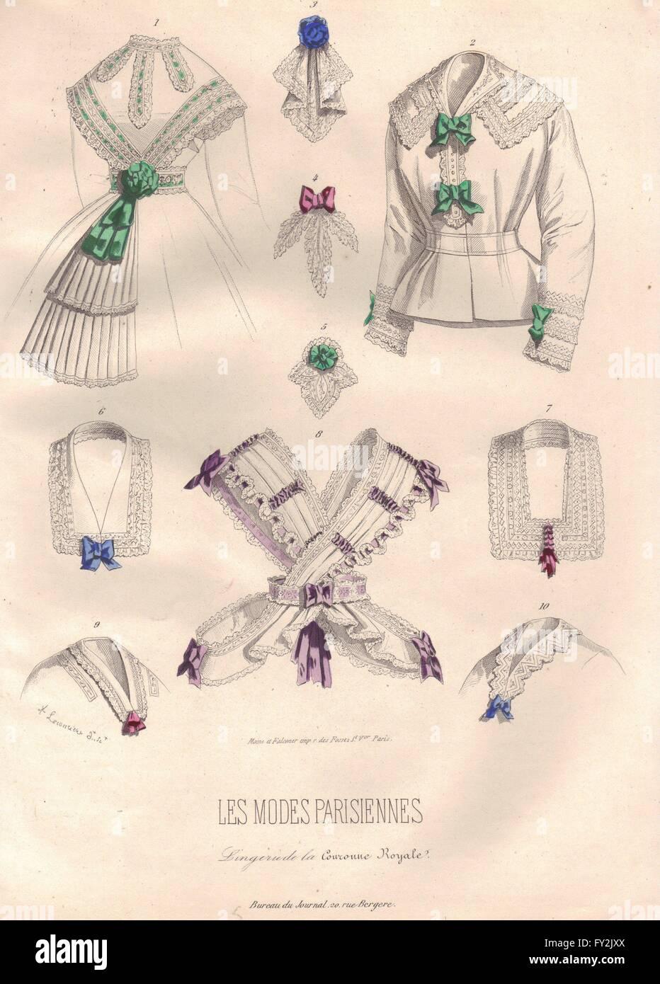 Mode: vêtements dames, antique print 1869 Photo Stock