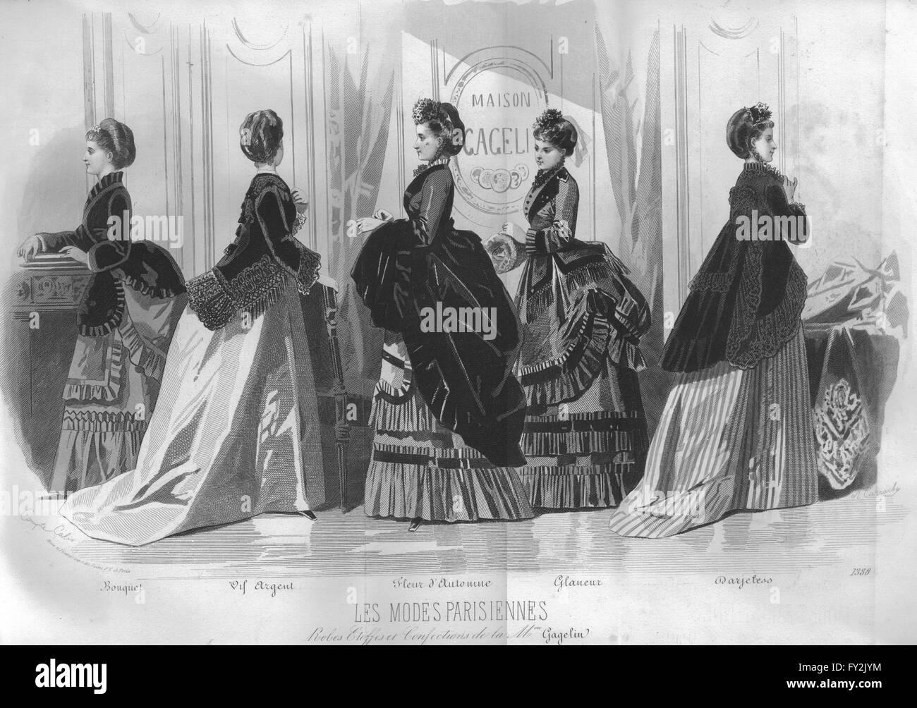 FASHION: Elegant Parisian mesdames, antique print 1869 Photo Stock