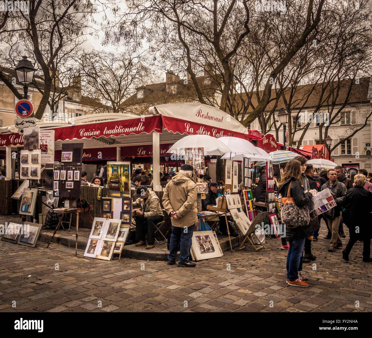 Place du Tertre, Montmartre, Paris, France. Banque D'Images