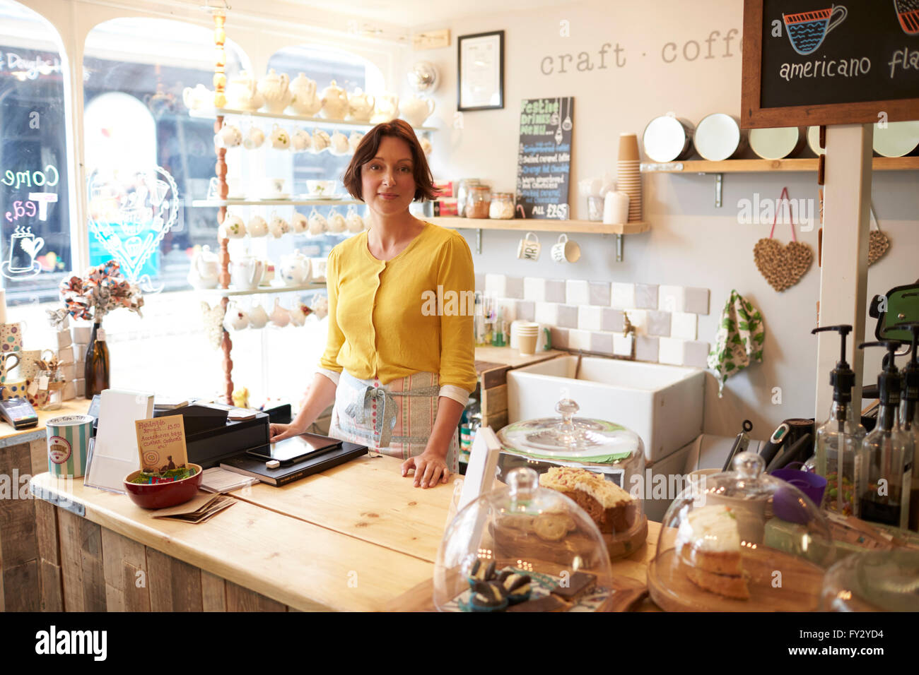 Portrait of Woman Running Café Photo Stock