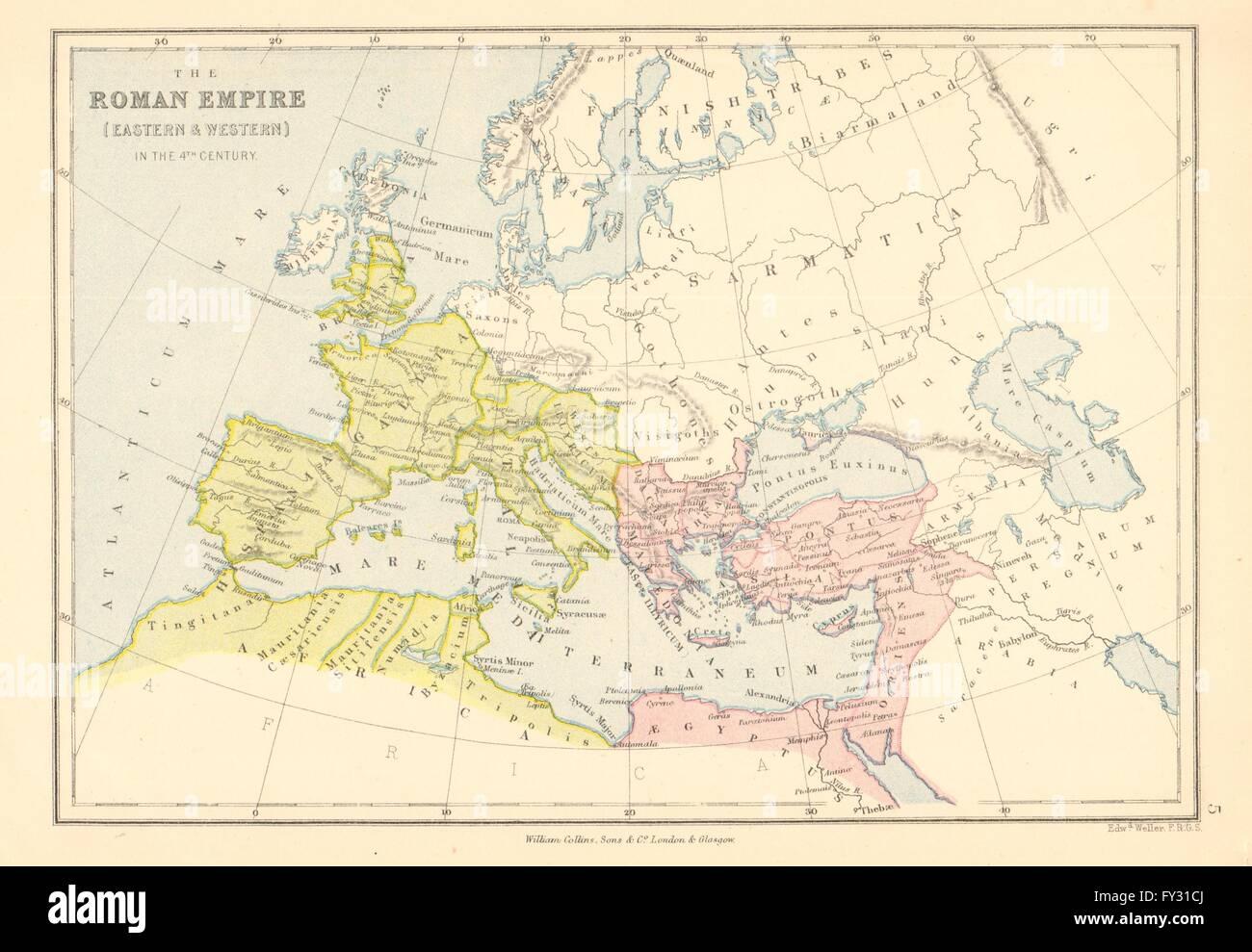 L'EMPIRE ROMAIN. Au 4ème siècle. L'Est et l'Ouest. BARTHOLOMEW, 1876 Ancien site Photo Stock