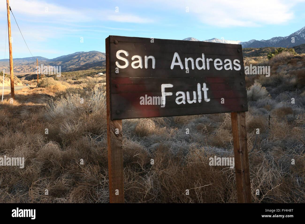 San Andres problème signer Valyermo Calfornia Photo Stock