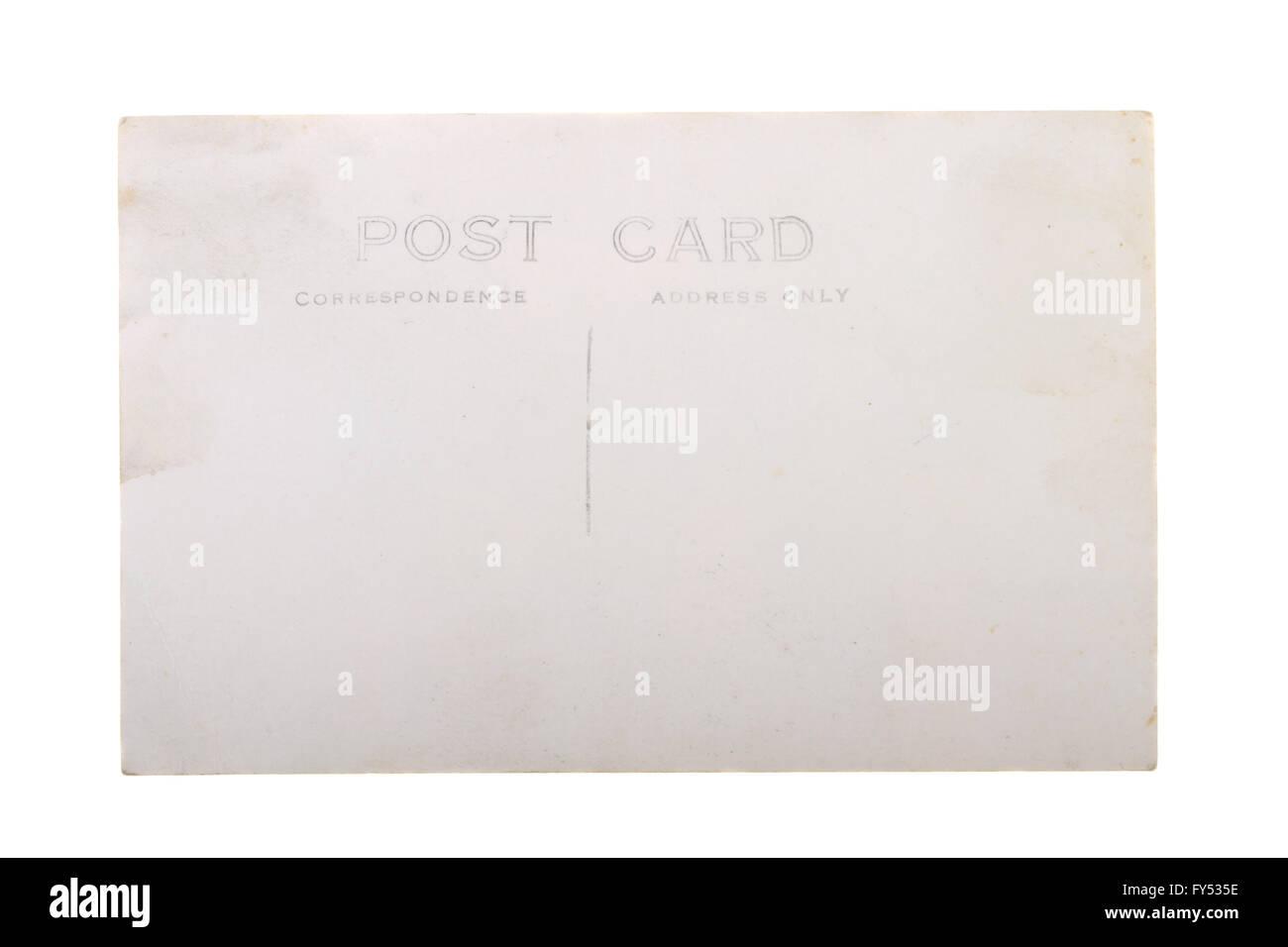 Vintage 1930 Carte postale vierge ère avec copie espace isolé sur fond blanc. Photo Stock