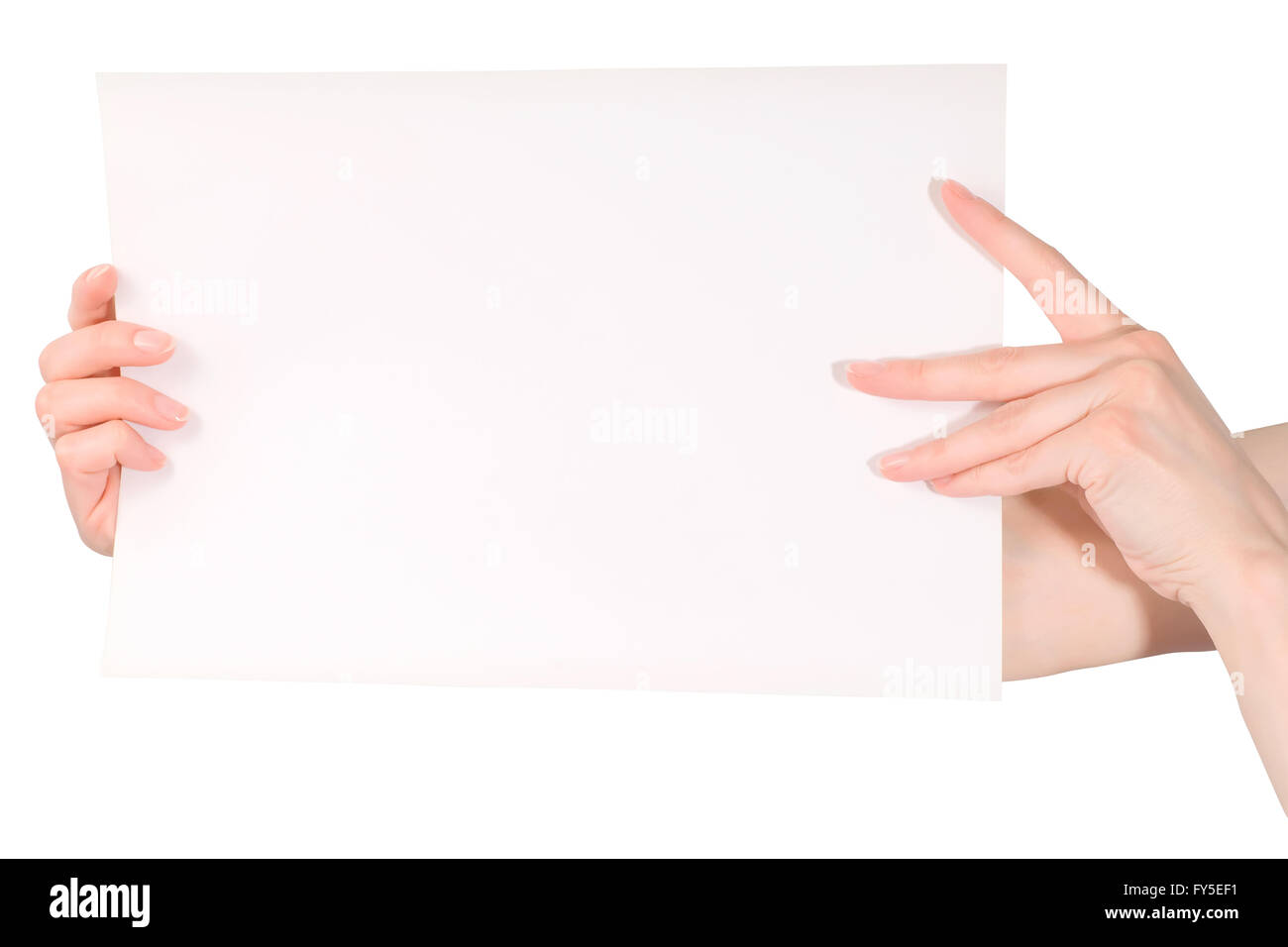 Belle femme hands holding blank white paper sheet isolated on white with clipping path Banque D'Images