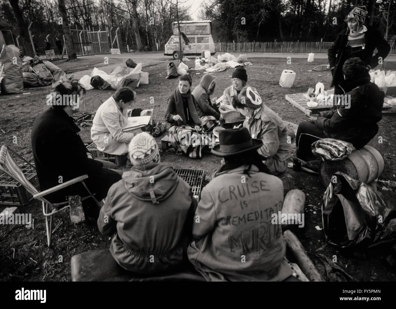 En 1981, la protestation des femmes Greenham camp a été créé pour protester contre les missiles Photo Stock